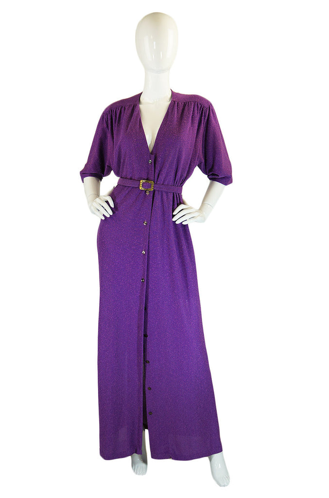 1970s Holly Harp Purple Maxi Shirt Dress