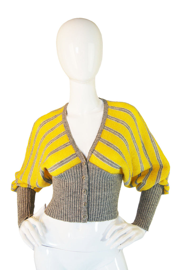 1970s I. Magnin Striped Crop Sweater