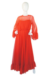 1970s Red Chiffon I Magnin Maxi Dress