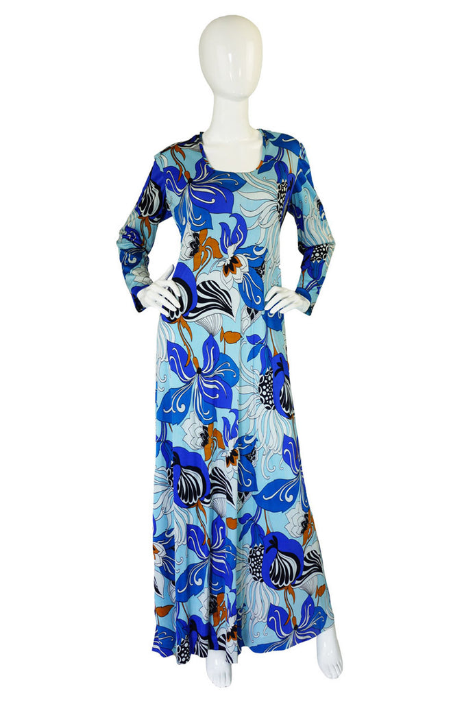 1970s French Blue Print Maxi Dress
