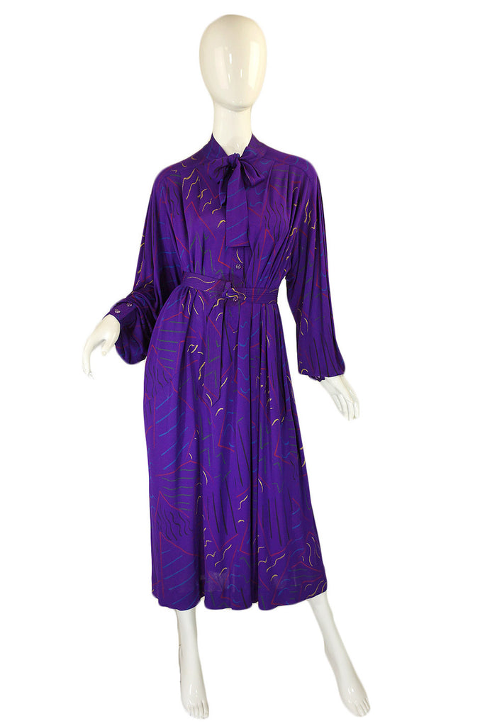 1970s Jean Muir Purple Print Dress