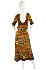 1970s Iconic Jean Varon Knit Maxi Dress
