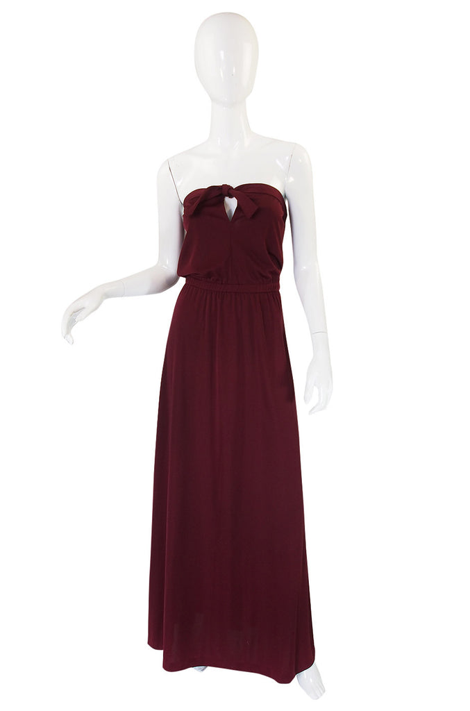 1970s Joy Stevens Strapless Maxi Dress