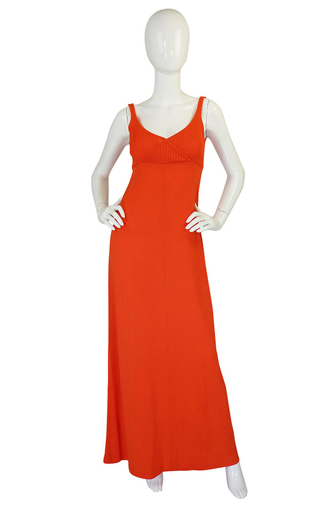 1970s Lanvin Knit Tangerine Halter Dress