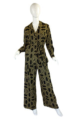 1970s Lanvin Logo Printed Jersey Three Piece Pant Set