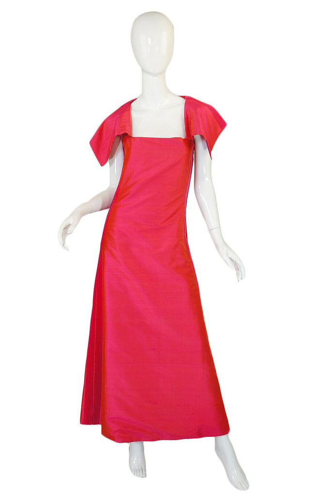 1960s Louis Feraud Hot Pink Silk Gown
