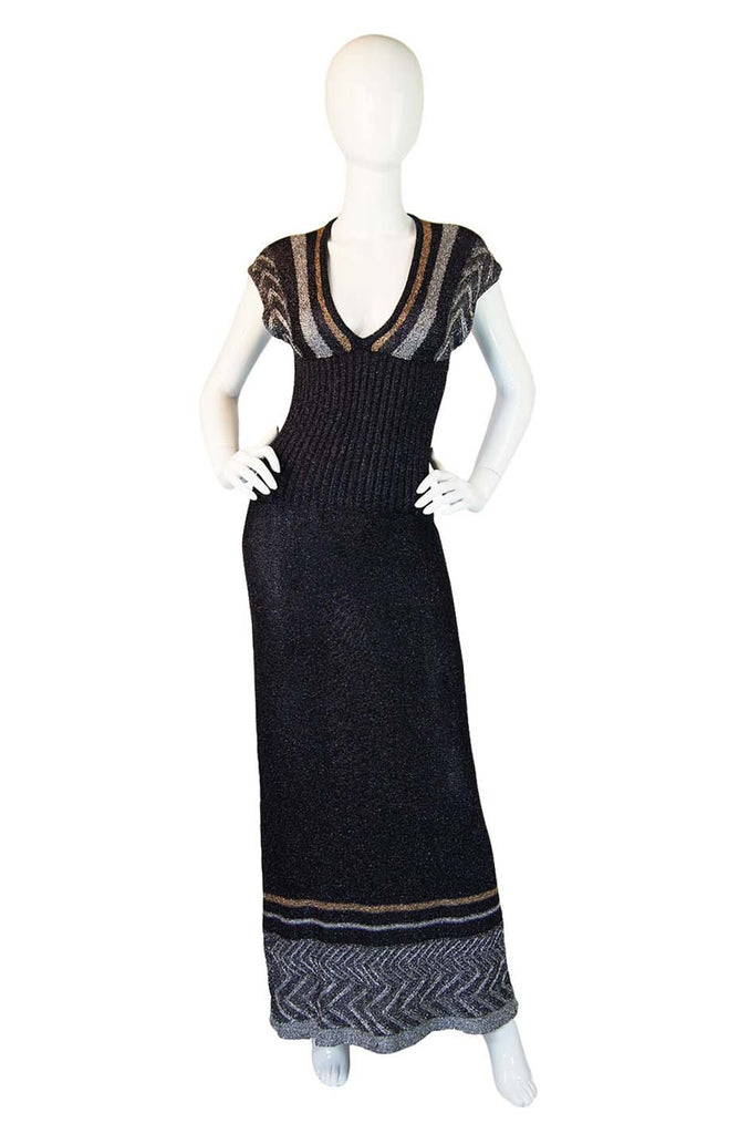 1970s Metallic Knit Plunge Maxi Dress