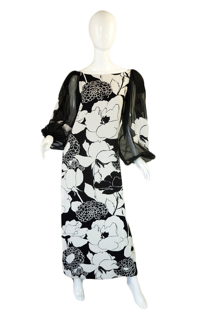1970s Mollie Parnis B&W Floral Dress