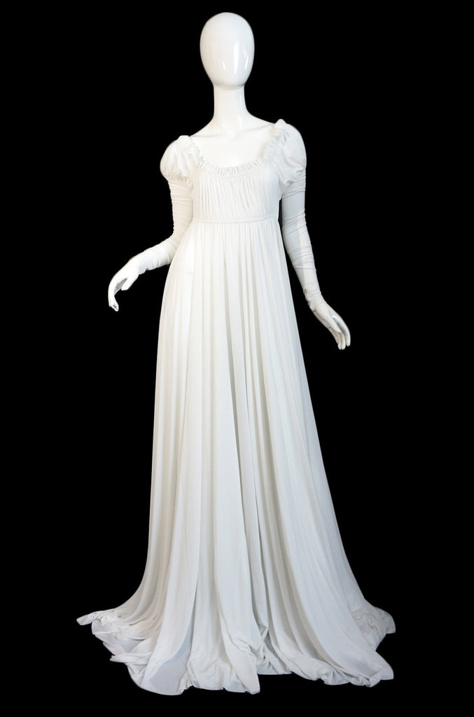 1970s Norma Kamali White Jersey Gown
