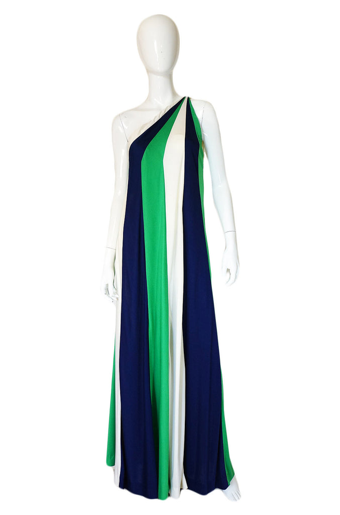 1970s One Shoulder Donald Brooks Dress