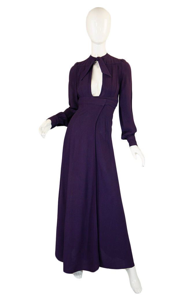 1970s Ossie Clark Purple Wrap Dress
