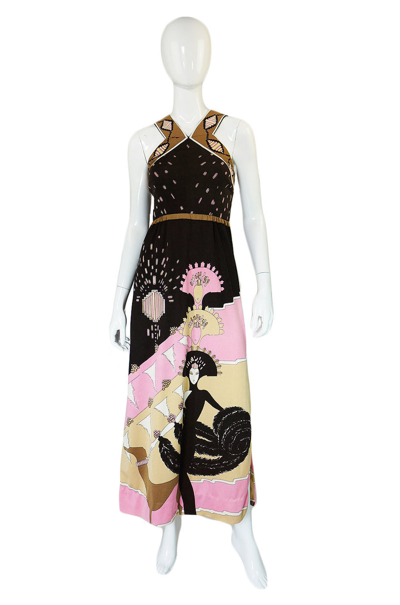 1970s Pink Printed Halter Paganne Dress