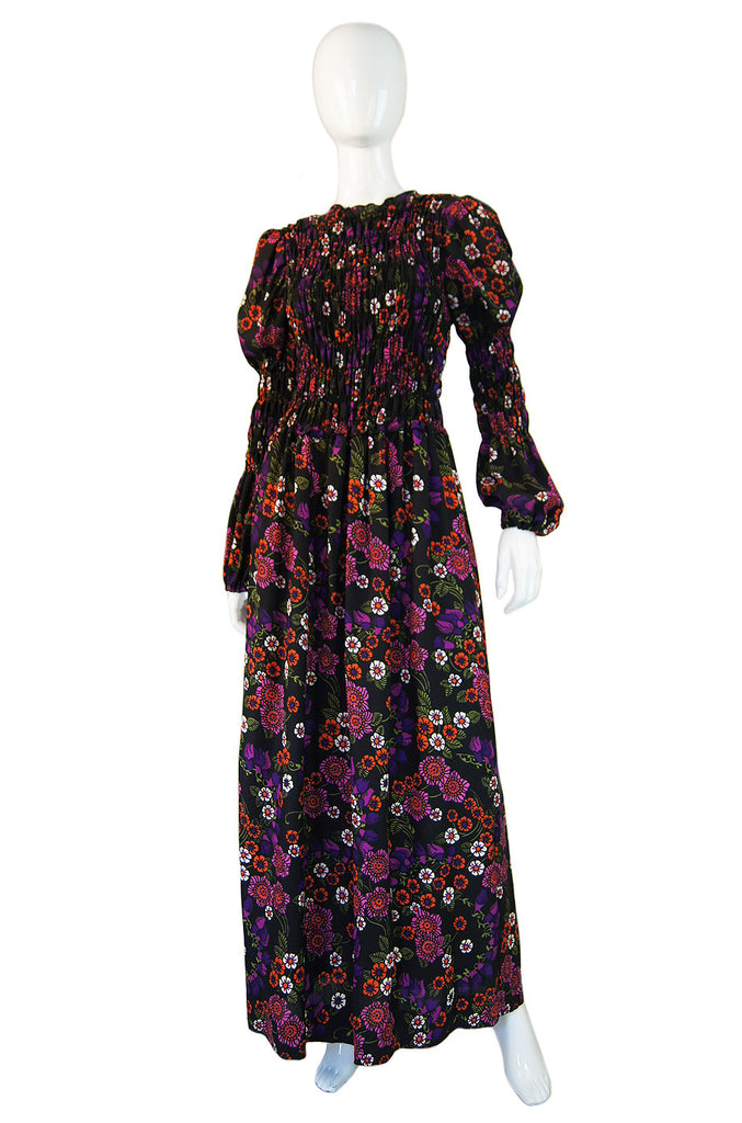1970s Printed Floral Smocked Maxi Dress