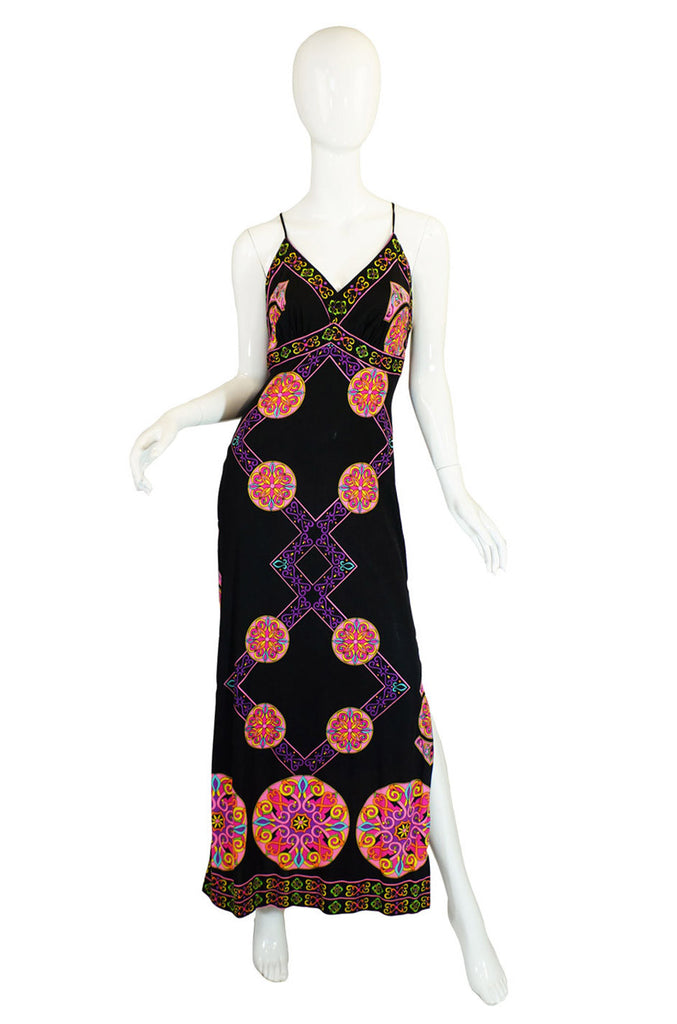 1970s Printed Maurice Maxi Dress