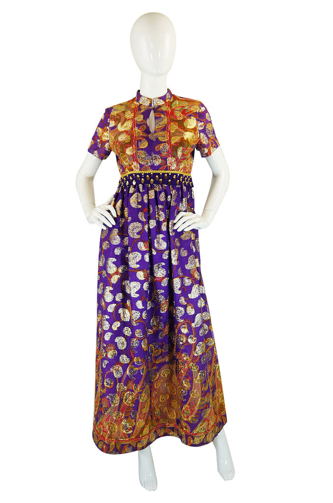 1960s Purple Metallic Print Maxi Dress