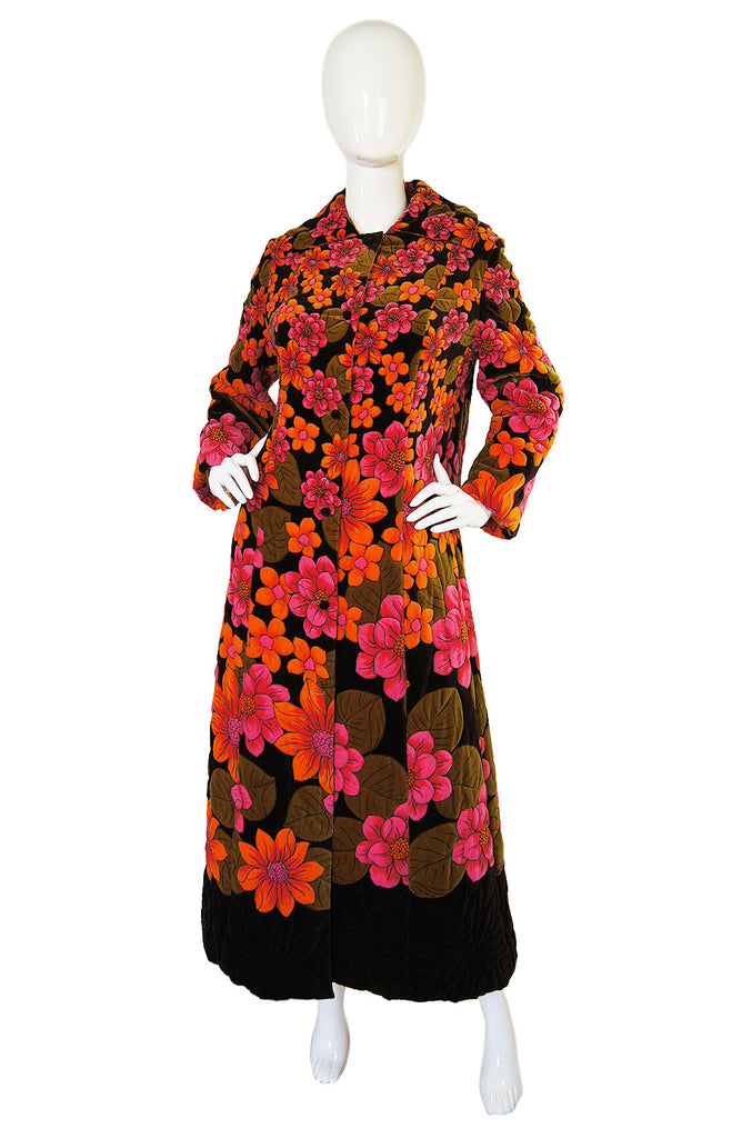 1960s Quilted Velvet Floral Great Coat