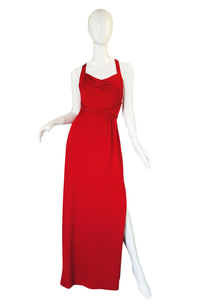 1970s Red Halter Low Back Estevez Maxi