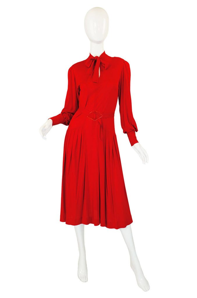 1970s Red Jersey Jean Muir Dress