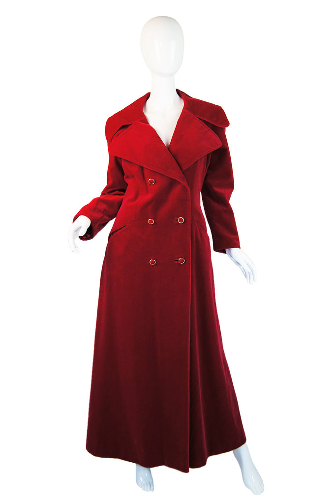 1970s Red Velvet Maxi Length Great Coat