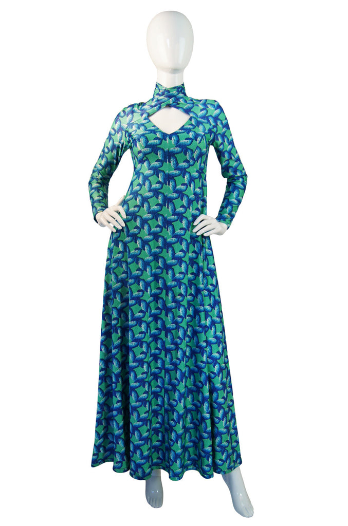 1970s Robert David Morton Print Gown