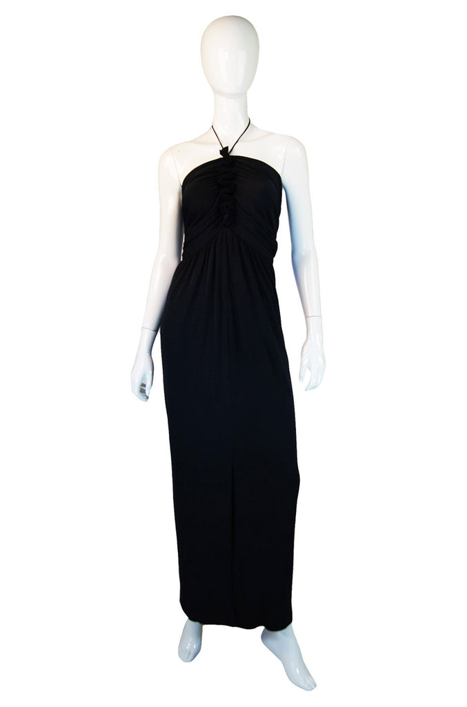 1970s Ruffle Front Bill Blass Maxi Dress