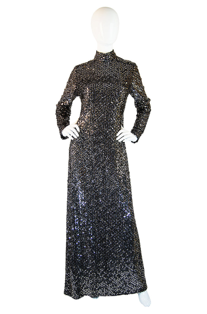 1970s Saks Fully Sequined Maxi Dress