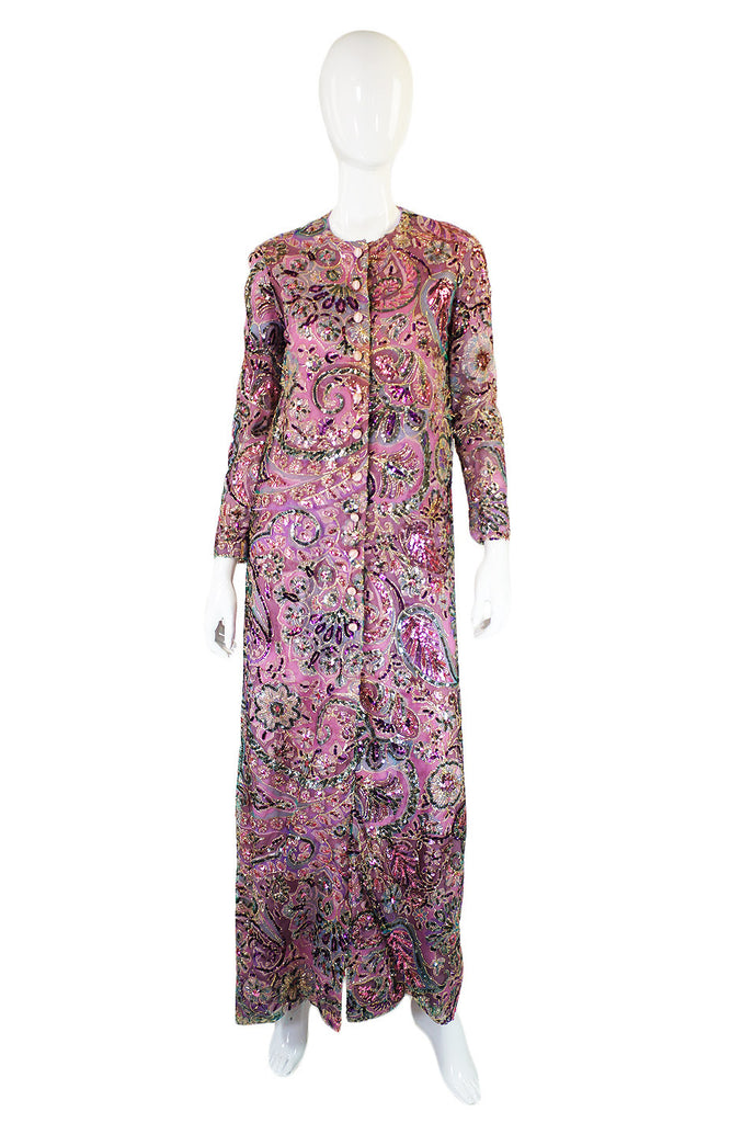 1970s Sequin Sarmi Maxi Dress or Coat