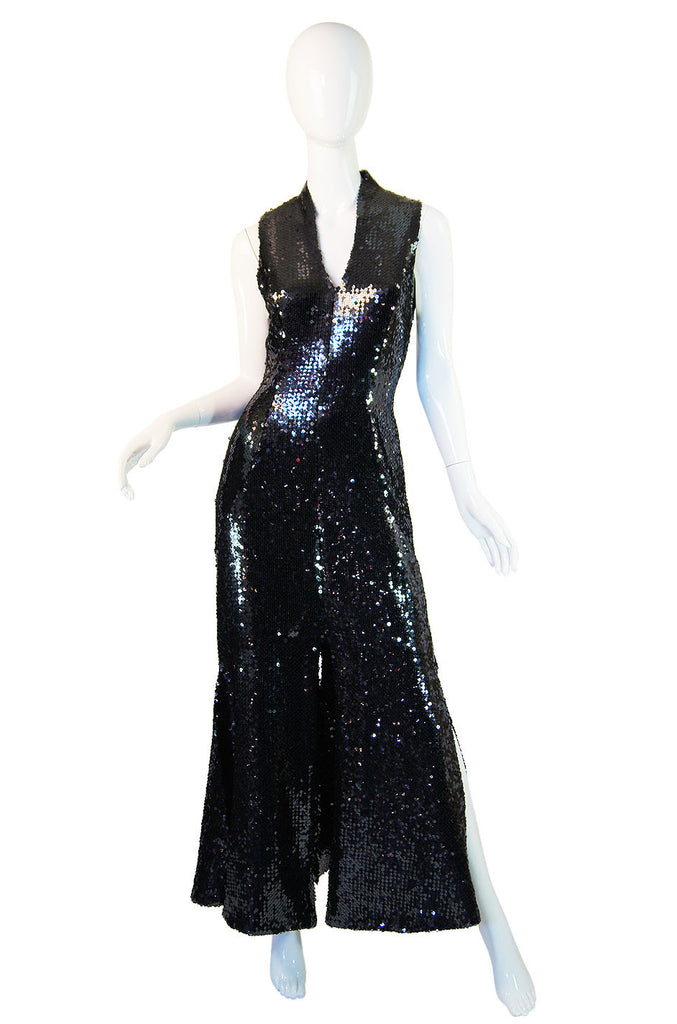 1970s Sequin Chloe Car Wash Hem Maxi