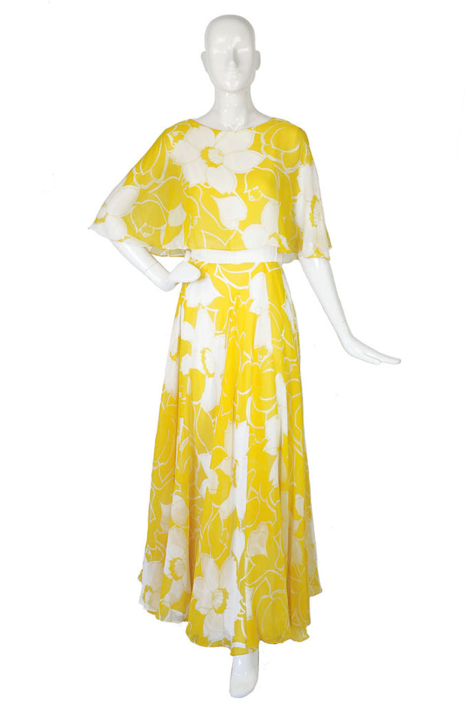 1970s Silk Chiffon Estevez Gown