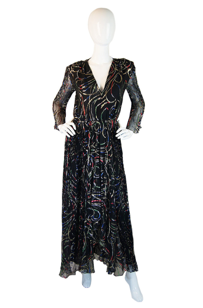 1970s Silk Chiffon Metallic Richeline