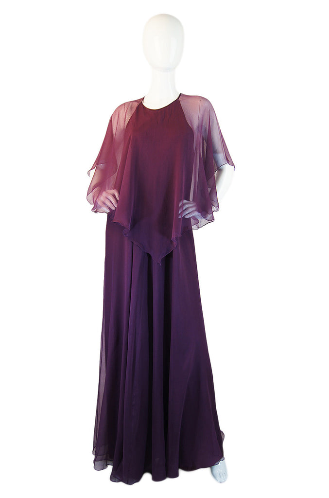 1970s Silk Chiffon Jean Varon Maxi Dress