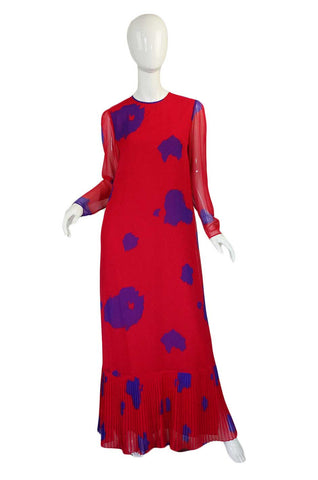 1970s Hanae Mori Silk Chiffon Cherry Red & Purple Dress