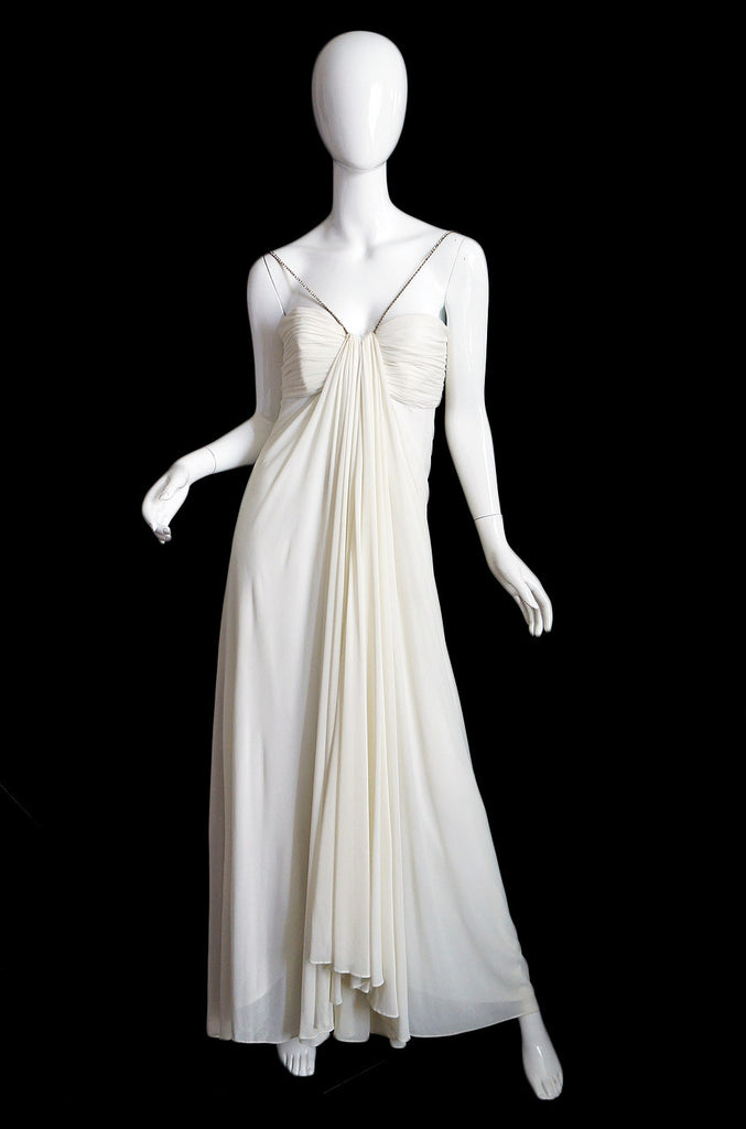 1970s Silk Goddess Victor Costa Gown