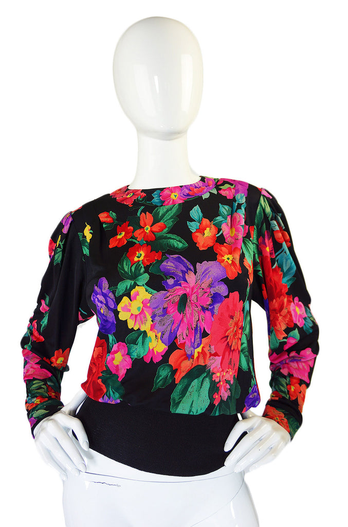 1970s Silk Floral Leonard Paris Top