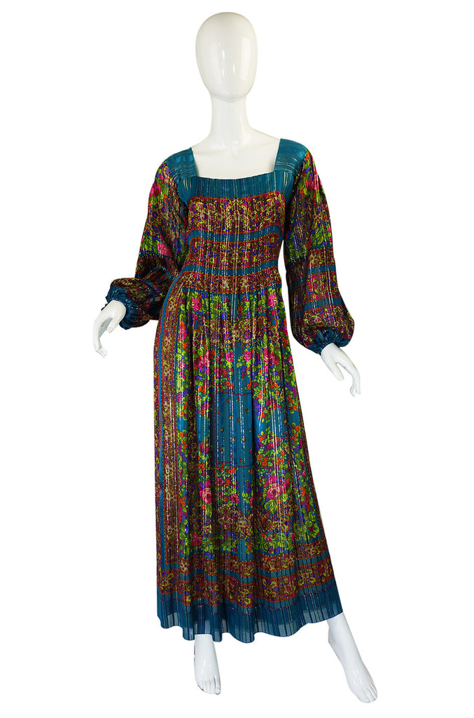 1970s Silk Pauline Trigere Maxi Dress