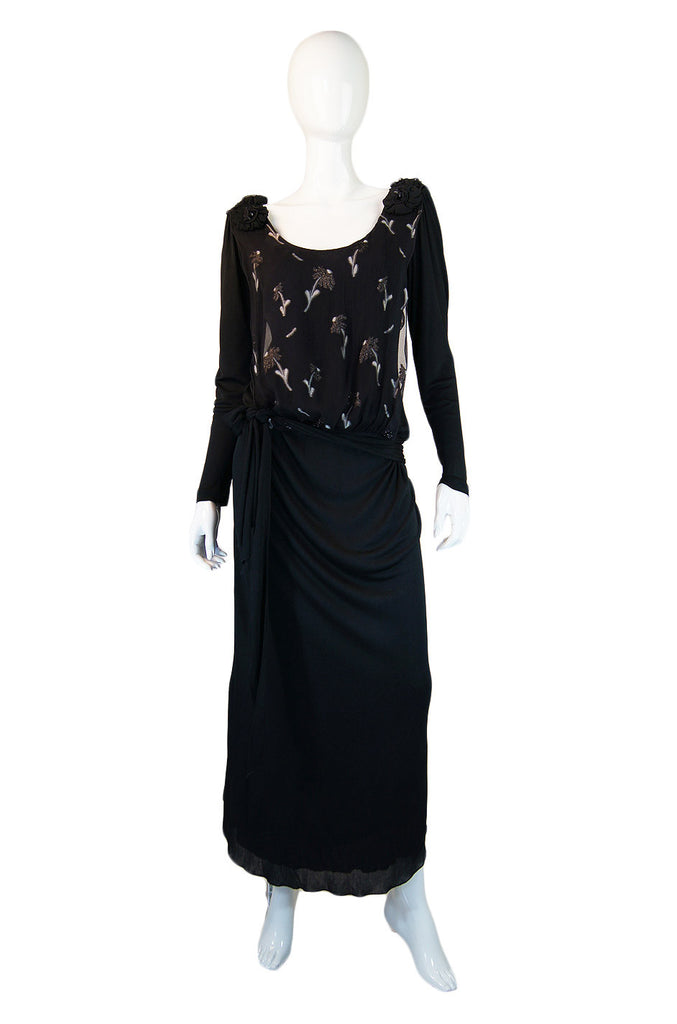 1970s Silk & Jersey Holly Harp Maxi Dress