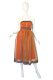 1950s Exotic Print Organza Dress & Wrap
