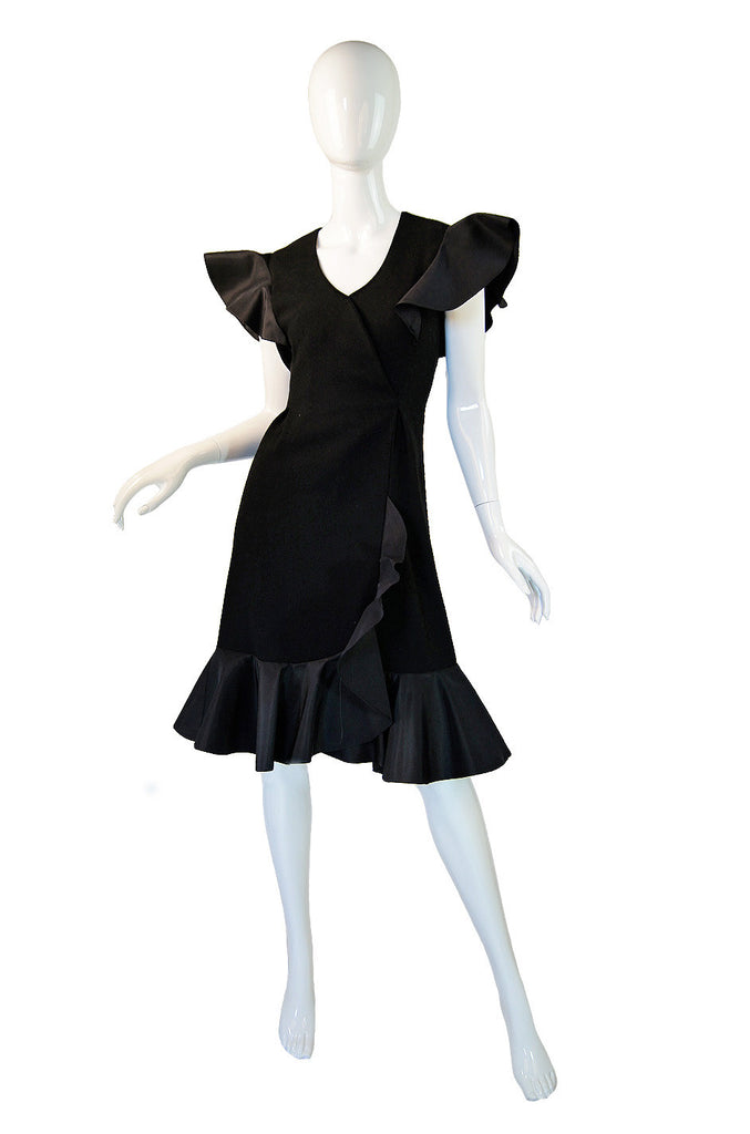 Late 1970s Pauline Trigere Ruffle Dress