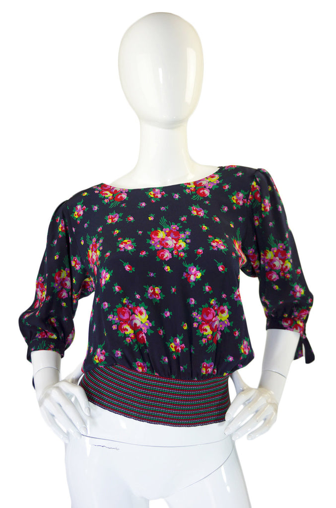 1970s Ungaro Floral Silk & Rib Finish Top