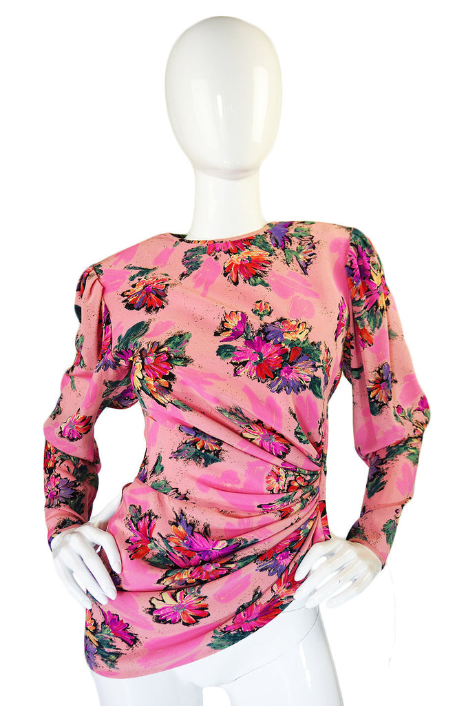 1970s Gorgeous Ungaro Pink Silk Top