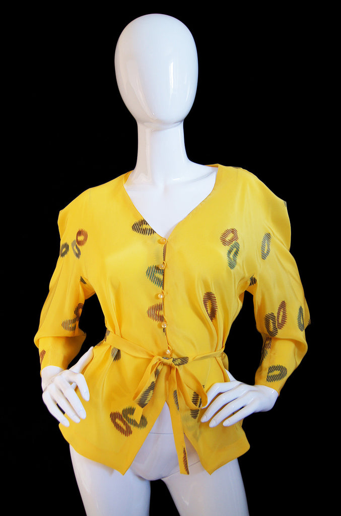 1980s Emanuel Ungaro Yellow Floral Printed Silk Top w Tie