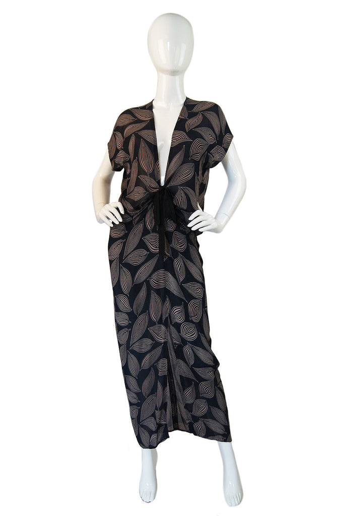 1980s Chiffon Wayne Clark Plunge Dress