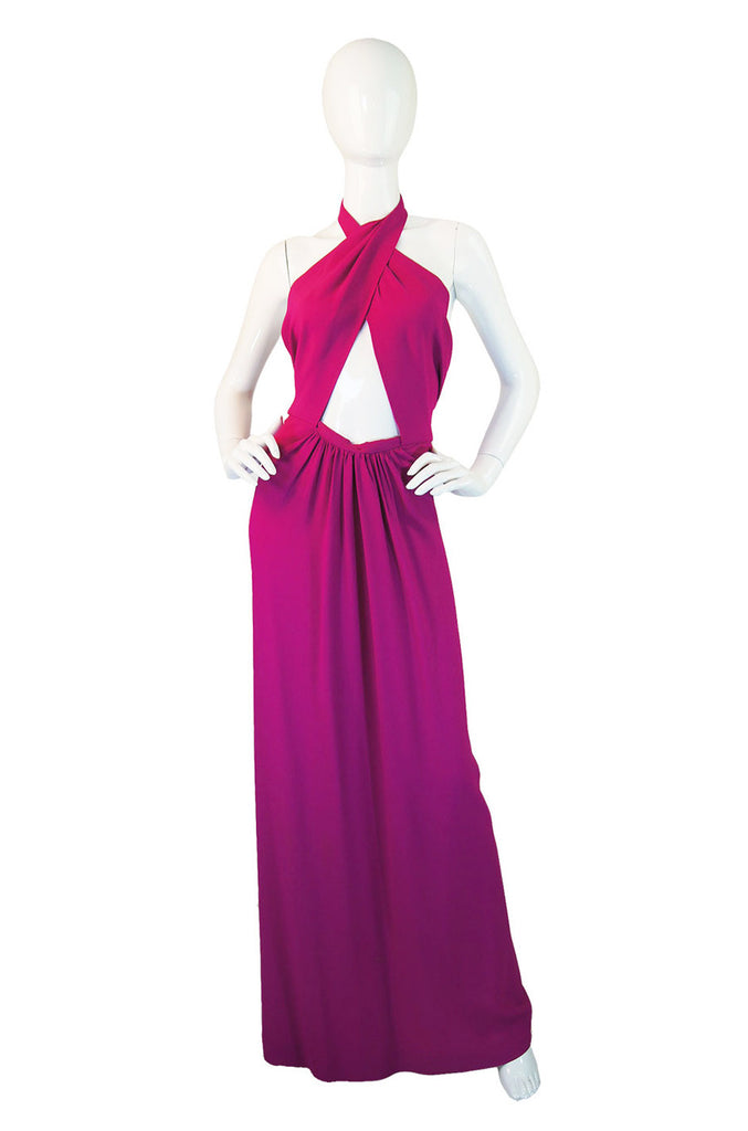 1997 Yves Saint Laurent Pink Halter Wrap Maxi Dress