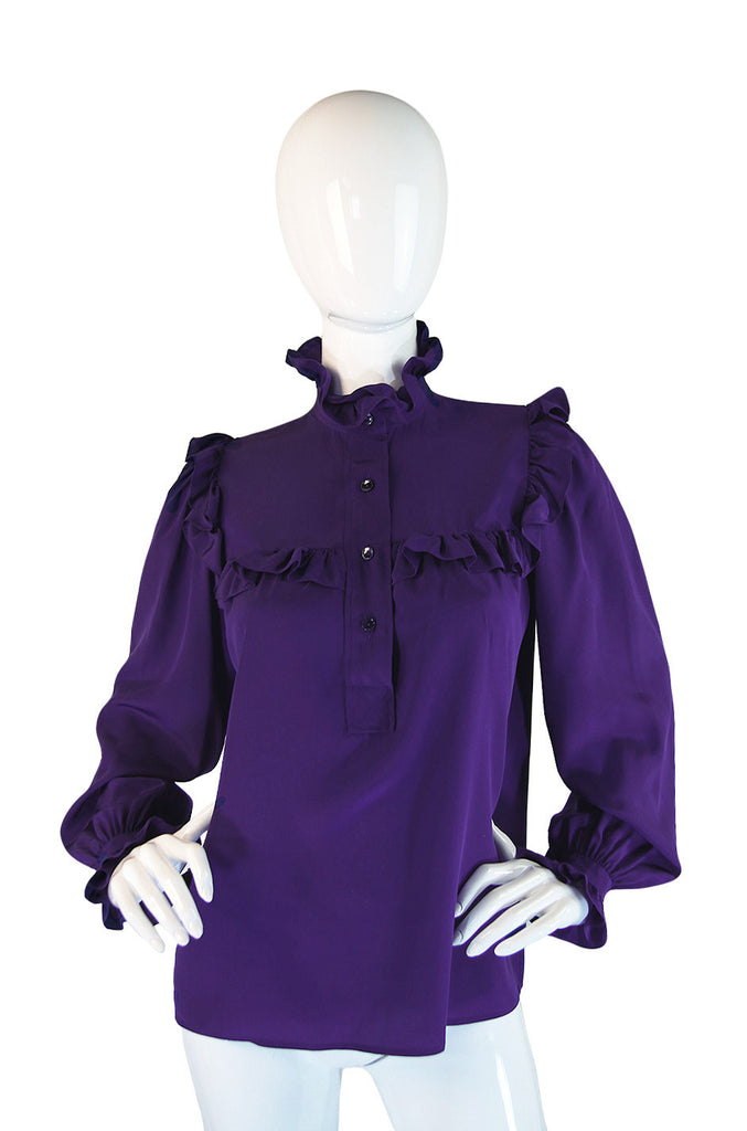 1970s YSL Purple Ruffle Silk Shirt