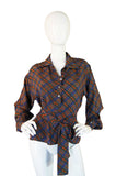 1970s YSL Silk Checked Top With Tie