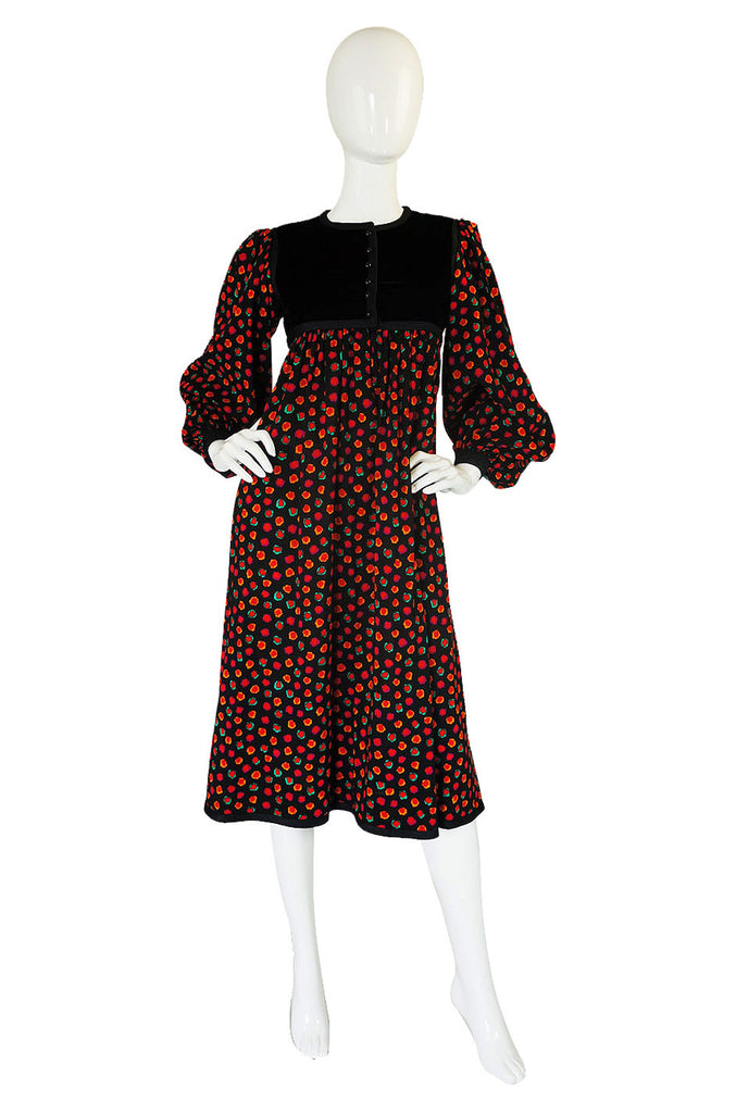 1970s Yves Saint Laurent Smock Dress