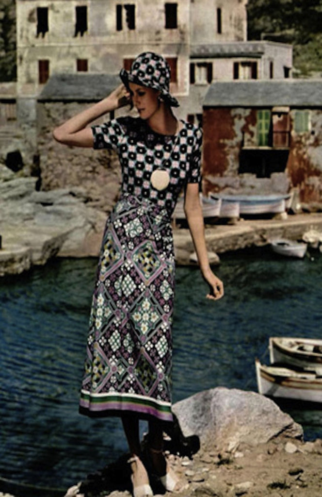 1971 Rare Lanvin Multi Color Maxi Dress