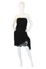 1980s Chiffon & Lace Victor Costa Dress
