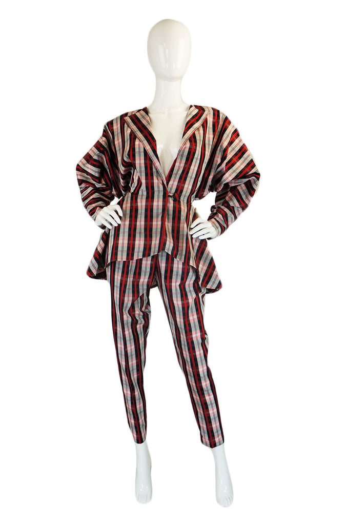 1980s Norma Kamali Dramatic Plaid Suit