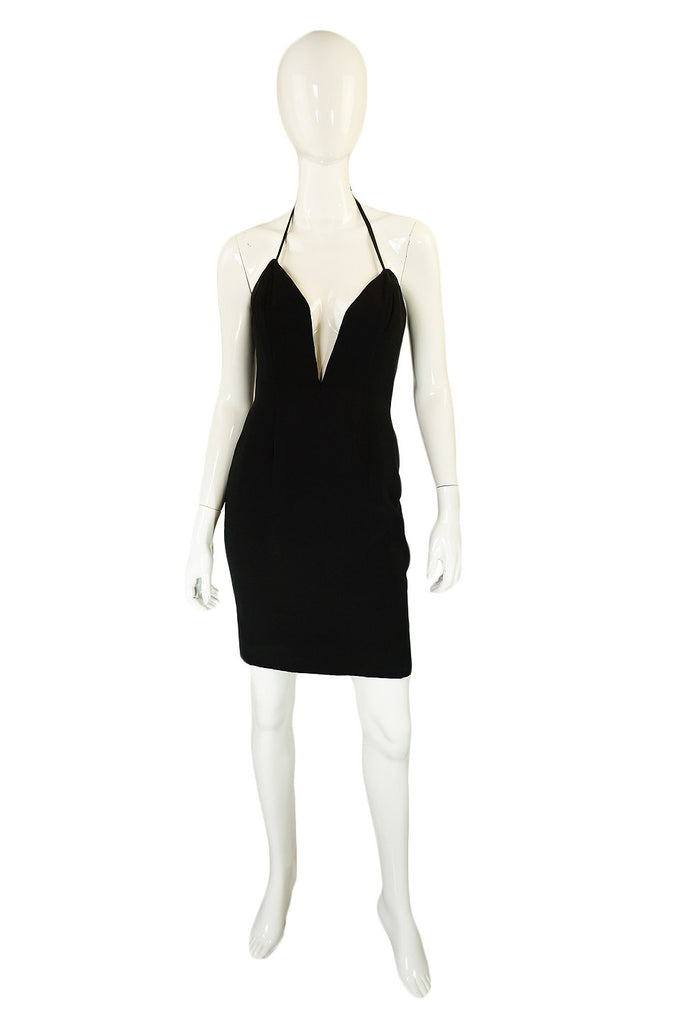 1980s Plunged Vicky Tiel Mini Dress